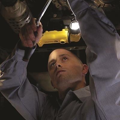Akumulatorowa latarka kątowa Knucklehead Flood, 12V DC, kol. żółty, 200 lm