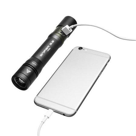 Ładowalna latarka ręczna z funkcją power bank Sniper 3.3 Mactronic